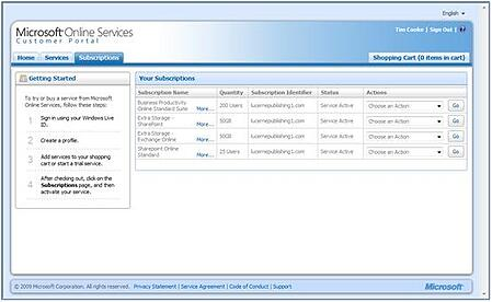 Your Subscription Window, Microsoft Online Services